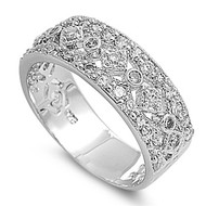 Designer Abstraction Cubic Zirconia Ring Sterling Silver 925