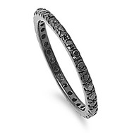 Eternity Black Plated Black Cubic Zirconia Ring Sterling Silver 925