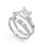 Princess Cut Center with Baguette Cubic Zirconia Wedding Set Ring Sterling Silver 925