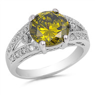 Round Simulated Peridot Cubic Zirconia Solitaire Ring Sterling Silver 925