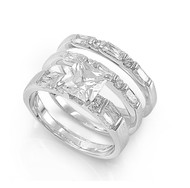 Princess Cut Center with Round & Baguette Stones Cubic Zirconia Wedding Set Ring Sterling Silver 925