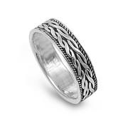 Twin Braided Row Ring Sterling Silver 925