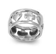 Alternating Heart Cross Ring Sterling Silver 925
