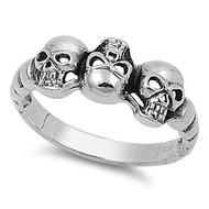 Three Musketeers Skull Ring Sterling Silver 925