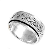 Braided Row Spinner Ring Sterling Silver 925