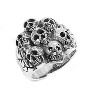 Sleeping with Death Skull Ring Sterling Silver 925