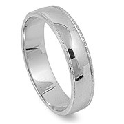 Milgrain Edges Wedding Band Ring Rhodium Plated Sterling Silver 925
