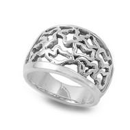 Designer Style Filigree Ring Sterling Silver 925