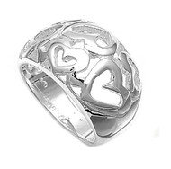 Bunch of Hearts Fashion Ring Sterling Silver 925