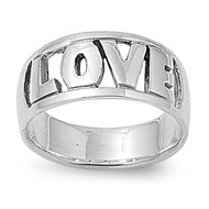 Love Word in Block Ring Sterling Silver 925