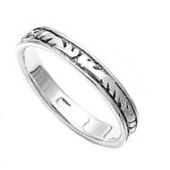Carved Band Ring Sterling Silver 925