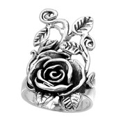 Antique Design Rose Flower Ring Sterling Silver 925