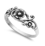 Antique Filigree Flower Ring Sterling Silver 925