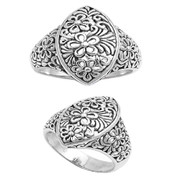 Antique Filigree Pear Shape Ring Sterling Silver 925