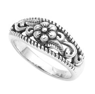 Antique Fashion Filigree Daisy Flower Ring Sterling Silver 925