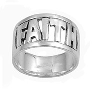 Faith in Block Font Ring Sterling Silver 925