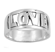 Love in Block Font Ring Sterling Silver 925