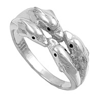 Four Dolphins Playground Ring Sterling Silver 925 Size 6