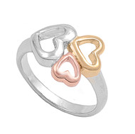 Threesome Heart Tri Tone Ring Sterling Silver 925