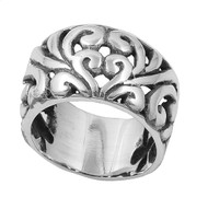 Abstract Sprouts Pattern Filigree Ring Sterling Silver 925
