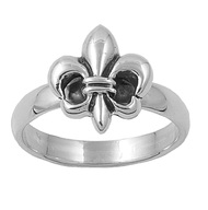 Fleur De Lys Royal Flat Form Ring Sterling Silver 925