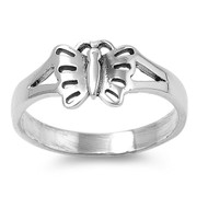 Haven Solitaire Butterfly Ring Sterling Silver 925