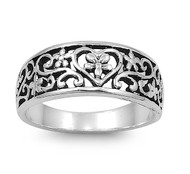 Aesthetic Abstract Art Filigree Heart Ring Sterling Silver 925