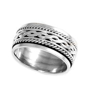 Tribal Weave Spinner Ring Sterling Silver 925
