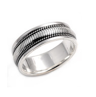 Striped Braided Band Ring Sterling Silver 925