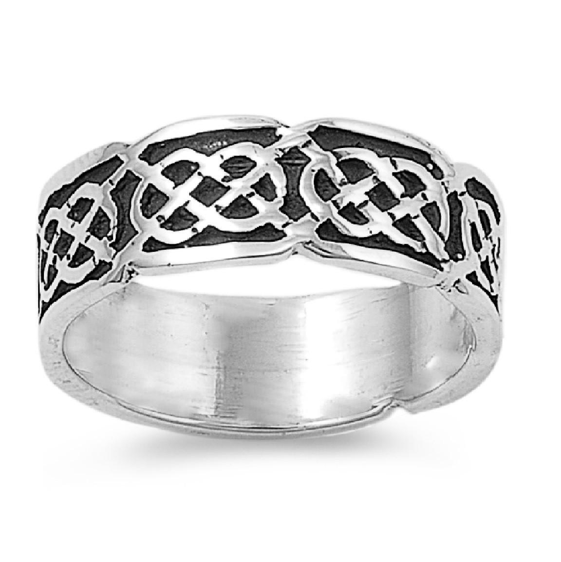 Celtic Gaelic Pagan Op Art Ring Sterling Silver 925
