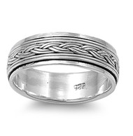 Adorned Braided Row Spinner Ring Sterling Silver 925
