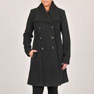 Larry Levine Wool Blend Dark Charcoal Lined Coat Long  Size 14