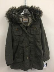 Steve Madden Parka Faux Fur Hood Jacket Olive Green