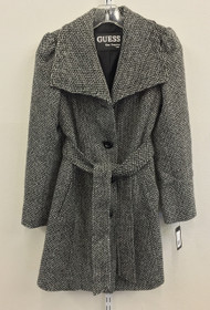 GUESS Textured Belted Trench Coat Black & White Size PXS