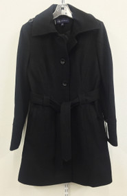 Anne Klein Women's Single-Breasted Black Wool-Blend Coat Size Medium