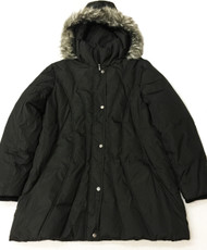 London Fog Down Hooded Quilted Puffer Jacket, Size: 1X, Black