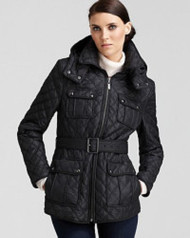Marc New York Quilted Zip Belted Jacket, Large