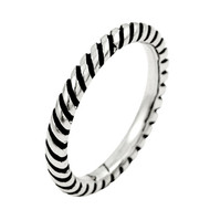 Plain Silver Diagonal Striped Stackable Band Sterling Silver 925 Ring