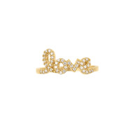 Gold-Tone Plated Love Cubic Zirconia Sterling Silver 925 Ring