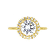 Round Cubic Zirconia Sterling Silver 925 Ring Gold-Tone Plated