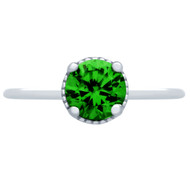 Rhodium Plated Simulated Emerald Green Round Cubic Zirconia Sterling Silver 925 Ring