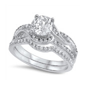 Iced Engagement Wedding Cubic Zirconia Ring Sterling Silver 925