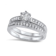 Round Cut Wedding Engagement Cubic Zirconia Ring Sterling Silver 925
