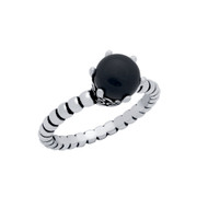 Cabochon Simulated Onyx Bead Band Ring Sterling Silver