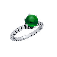 Cabochon Simulated Emerald Bead Band Ring Sterling Silver
