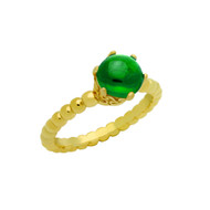 Cabochon Simulated Emerald Bead Band Ring Yellow Gold-Tone Sterling Silver
