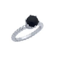 Cabochon Simulated Onyx Bead Band Ring Rhodium Plated Sterling Silver