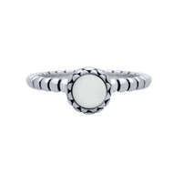 Cabochon Simulated Pearl Bead Band Ring Sterling Silver