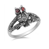 Angry Owl Simulated Garnet Cubic Zirconia Ring Sterling Silver 925
