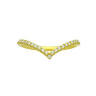 Yellow Gold-Tone Sterling Silver Half Way Eternity Cubic Zirconia Pointed Ring